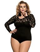 ราคาถูก เสื้อคลุมและชุดนอน-สำหรับผู้หญิง ลูกไม้ บอดี้สูท เสื้อนอน สีพื้น สีดำ M XL XXXL