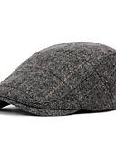 olcso Férfi kalapok, sapkák-Férfi Csíkos Poliészter,Alap-Svájcisapka Ősz Fekete Barna Szürke