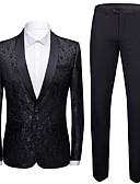 ราคาถูก เบลเซอร์ &สูทผู้ชาย-สำหรับผู้ชาย ชุด, รูปเรขาคณิต ปกคอแบะของเสื้อแบบผ้าคลุม เส้นใยสังเคราะห์ สีดำ / ไวน์ / ขาว