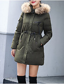 olcso Női hosszú kabátok és parkák-Női Egyszínű Hosszú Kosaras, Poliészter Fekete / Katonai zöld M / L / XL