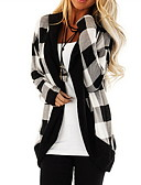 olcso Női pulóverek-Női Kockás Hosszú ujj Kardigán Pulóver jumper, V-alakú Fekete / Rubin S / M / L