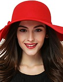 cheap Women's Hats-Women's Basic Cute Cotton Sheepskin Bowler / Cloche Hat Sun Hat-Solid Colored All Seasons Black Wine Red