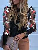 baratos Camisas Femininas-Mulheres Camiseta Floral Preto