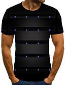 billige Pikekjoler-T-skjorte Herre - Geometrisk / Fargeblokk / 3D, Trykt mønster Gatemote / Punk & Gotisk Svart