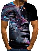 ราคาถูก เสื้อยืดและเสื้อกล้ามผู้ชาย-สำหรับผู้ชาย เสื้อเชิร์ต Street Chic / Punk & สไตล์โกธิค ลายพิมพ์ ลายบล็อคสี / 3D / การ์ตูน สีดำ