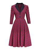 olcso Női ruhák-Női Vintage Swing Ruha - Kollázs, Kockás Midi