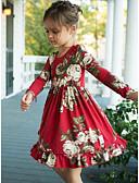 olcso Bébi ruhák-Baba Lány Aktív Piros Nyomtatott Nyomtatott Hosszú ujj Ruha Rubin