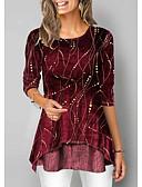 olcso Női felsők-Női Póló - Egyszínű Bor