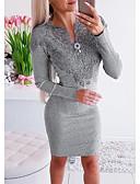 olcso Mini ruhák-Női Elegáns Hüvely Ruha - Csipke, Egyszínű Térd feletti