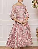 olcso Örömanya ruhák-A-vonalú Bateau nyak Tea-hossz Csipke Örömanya ruha val vel Gyöngydíszítés / Rátétek által LAN TING Express