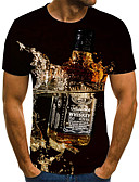 baratos Camisetas & Regatas Masculinas-Homens Camiseta Moda de Rua / Exagerado Estampado, Estampa Colorida / 3D / Gráfico Arco-íris