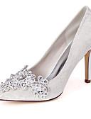 ราคาถูก ม่านสำหรับงานแต่งงาน-สำหรับผู้หญิง รองเท้าแต่งงาน ส้น Stiletto Pointed Toe ลูกไม้ / ซาติน minimalism ตก / ฤดูร้อนฤดูใบไม้ผลิ ขาว / คริสตัล / สีม่วงอ่อน / งานแต่งงาน / พรรคและเย็น