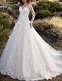 olcso Menyasszonyi ruhák-A-vonalú V-alakú Seprő uszály Csipke Made-to-measure esküvői ruhák val vel Rátétek által LAN TING Express