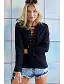 cheap Women's Blouses-Women's Daily Weekend Street chic Blouse - Solid Colored Cut Out Black