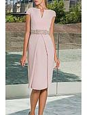 olcso Női ruhák-Szűk szabású Ékszer Térdig érő Poliészter Örömanya ruha val vel Pántlika / szalag által LAN TING Express