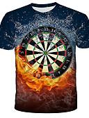 Χαμηλού Κόστους Ανδρικά μπλουζάκια και φανελάκια-Ανδρικά T-shirt Κομψό στυλ street / Εξωγκωμένος 3D / Νεκροκεφαλές / Δετοβαμένο Στάμπα Ουράνιο Τόξο