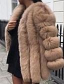 billige Kvinner Fur & Faux Fur Coats-Dame Daglig Høst vinter Lang Faux Fur Coat, Ensfarget V-hals Langermet Fuskepels Svart / Hvit / Rosa