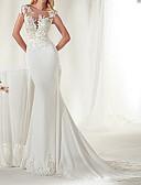 Χαμηλού Κόστους Νυφικά-Τρομπέτα / Γοργόνα Με Κόσμημα Ουρά μέτριου μήκους Σατέν Ιμάντες Φορέματα γάμου φτιαγμένα στο μέτρο με Εισαγωγή δαντέλας 2020