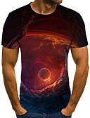 baratos Camisas Masculinas-Homens Camiseta Moda de Rua / Punk & Góticas Estampado, Galáxia / Estampa Colorida / 3D Laranja
