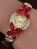 ราคาถูก นาฬิกาข้อมือ-สำหรับผู้หญิง นาฬิกาสร้อยข้อมือ นาฬิกาอิเล็กทรอนิกส์ (Quartz) สไตล์ รูปแบบลายดอกไม้ Cubic Zirconia สีขาว / ฟ้า / น้ำตาล นาฬิกาใส่ลำลอง เลียนแบบเพชร ระบบอนาล็อก ไม่เป็นทางการ สง่างาม -  / หนึ่งปี