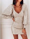 olcso Női ruhák-Női 1920s Utcai sikk Vékony Flapper Ruha Egyszínű Térd feletti Mély-V Gatsby