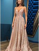 Χαμηλού Κόστους Φορέματα Χορού Αποφοίτησης-Γραμμή Α Λεπτές Τιράντες Ουρά Με πούλιες Φανταχτερό Χοροεσπερίδα Φόρεμα 2020 με Πούλιες