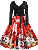 olcso Női ruhák-Női Vintage Alap Swing Ruha - Kollázs Nyomtatott, Mértani Hópehely Térdig érő Mikulás