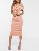 baratos Vestidos de Coquetel-Tubinho Assimétrico Longuette Cetim Frente Única Coquetel / Feriado Vestido 2020 com Fenda Frontal