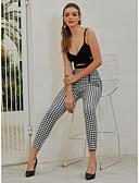baratos Camisas Femininas-Mulheres Moda de Rua Delgado Delgado Calças - Xadrez / Quadrados Cintura Alta Algodão Branco S M L