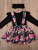 olcso Női ruhák-Baba Lány Alap / Utcai sikk Nyomtatott / Egyszínű Hosszú ujj Hosszú Ruházat szett Fekete