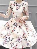 baratos Vestidos de Mulher-Mulheres Elegante Evasê Vestido - Estampado, Floral Médio