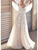 billiga Brudklänningar-A-linje V-hals Svepsläp Tyll Kortärmad Bröllopsklänningar tillverkade med Applikationsbroderi / Knappar 2020