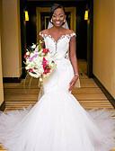 olcso Menyasszonyi ruhák-Sellő fazon V-alakú Kápolna uszály Csipke / Tüll / Csipke szaténon Made-to-measure esküvői ruhák val vel Rátétek által LAN TING Express