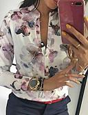 billige Tights til damer-Skjortekrage Skjorte Dame - Blomstret Hvit