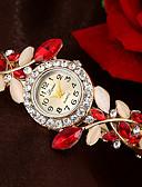 ราคาถูก นาฬิกาข้อมือ-สำหรับผู้หญิง นาฬิกาสร้อยข้อมือ นาฬิกาอิเล็กทรอนิกส์ (Quartz) สไตล์ รูปแบบลายดอกไม้ Cubic Zirconia ฟ้า / แดง / ม่วง นาฬิกาใส่ลำลอง เลียนแบบเพชร ระบบอนาล็อก ดอกไม้ สง่างาม - สีม่วง ส้ม สีน้ำเงิน