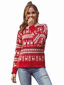 ราคาถูก แจ็กเก็ต &เสื้อโค้ทผู้ชาย-สำหรับผู้หญิง คริสมาสต์ สัตว์ แขนยาว ผ้าคลุมหลัง เสื้อกันหนาวจัมเปอร์, คอกลม ทับทิม S / M