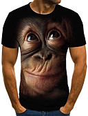cheap Men's Tees & Tank Tops-Men's Daily Going out Street chic / Exaggerated Plus Size T-shirt - Geometric / 3D / Animal Pleated / Print Round Neck Black / Short Sleeve
