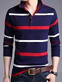 billige Poloskjorter til herrer-Skjortekrage Polo Herre - Stripet Gul / Langermet