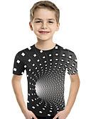 billige Topper til gutter-Barn Baby Gutt Aktiv Grunnleggende Geometrisk Trykt mønster Fargeblokk Trykt mønster Kortermet T-skjorte Svart
