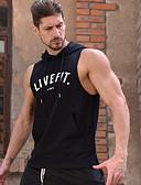 ราคาถูก เสื้อยืดและเสื้อกล้ามผู้ชาย-สำหรับผู้ชาย เสื้อกล้าม ฮู้ด ลายตัวอักษร สีดำ / เสื้อไม่มีแขน