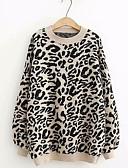 billige Gensere til damer-Dame Leopard Langermet Tynn Pullover Genserjumper Svart / Lilla / Beige En Størrelse