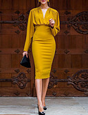 cheap Women's Dresses-Women's Date Weekend Sophisticated Elegant Bodycon Dress - Solid Colored Ruched Yellow S M L XL