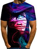 povoljno Kvarcni satovi-Majica s rukavima Muškarci - Ulični šik / pretjeran Dnevno / Praznik Color block / 3D / Grafika Print purpurna boja