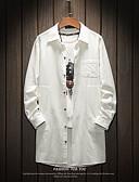 ราคาถูก แจ็กเก็ต &เสื้อโค้ทผู้ชาย-สำหรับผู้ชาย ทุกวัน พื้นฐาน ตก ขนาดของยุโรป / อเมริกา ยาว แจ๊คเก็ต, รูปเรขาคณิต Turndown แขนยาว ฝ้าย ลายพิมพ์ สีดำ / ขาว / สีกากี / หลวม