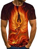 billige T-skjorter og singleter til herrer-T-skjorte Herre - 3D / Dyr / Tribal, Trykt mønster Gatemote / Punk & Gotisk Fantastiske dyr Oransje