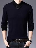 baratos Suéteres & Cardigans Masculinos-Homens Sólido Manga Longa Pulôver Camisola Jumper, Decote Redondo Preto / Vinho / Camel L / XL / XXL