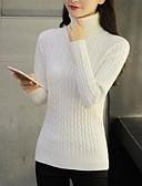 olcso Női pulóverek-Női Egyszínű Hosszú ujj Pulóver Pulóver jumper, Körgallér Ősz / Tél Fekete / Bor / Fehér S / M / L