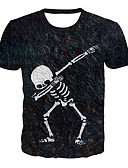 Χαμηλού Κόστους Blazers-Ανδρικά T-shirt Βασικό / Εξωγκωμένος 3D / Γραφική / Νεκροκεφαλές Στάμπα Ασπρόμαυρο Μαύρο