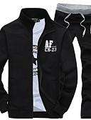 Χαμηλού Κόστους Αντρικές Μπλούζες με Κουκούλα & Φούτερ-Ανδρικά Μακρυμάνικο Αθλητικά Ενεργό Λεπτό Activewear Σετ - Γράμμα Όρθιος Γιακάς / Άνοιξη / Φθινόπωρο / Χειμώνας