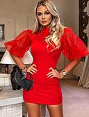 baratos Mini Vestidos-Mulheres Elegante Tubinho Vestido Sólido Mini